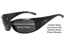 Older Arnette AN4121 Darkness Replacement Sunglass Lenses Pre 2010 - 61mm x 36mm Wide