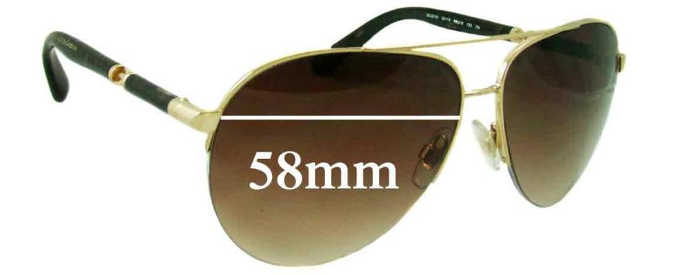 Dolce & Gabbana DG2115 Replacement Sunglass Lenses - 58mm wide