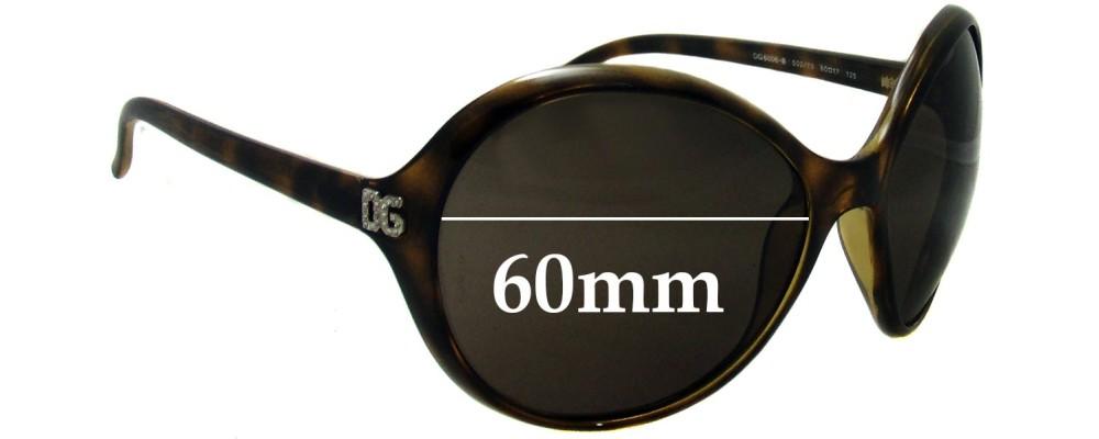Dolce & Gabbana DG6006-B Replacement Sunglass Lenses- 60mm Wide