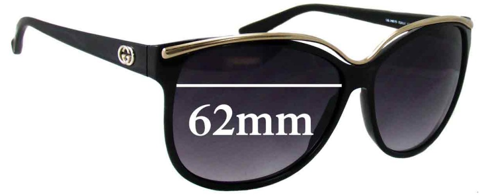 Gucci GG3155S Replacement Sunglass Lenses - 62mm Wide