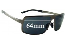 Porsche P'8495 Replacement Sunglass Lenses - 64mm Wide