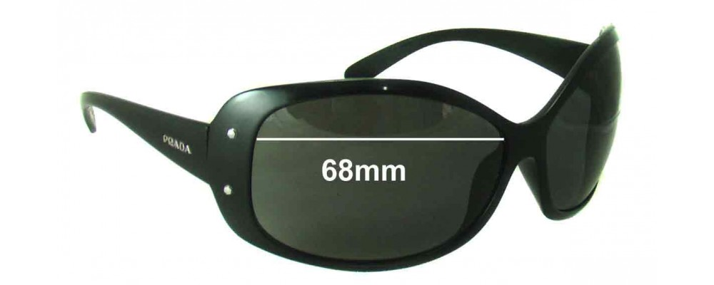 Prada SPR04F Older Style Replacement Sunglass Lenses - 68mm wide