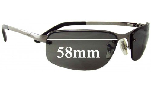 Ray Ban RAM2062AA Replacement Sunglass Lenses - 58mm wide - Rimless Frames