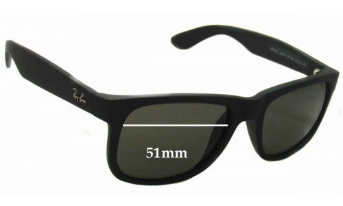 Sunglass Fix Replacement Lenses for Ray Ban RB4165 Justin - 51mm wide *Please measure as there are several models*
