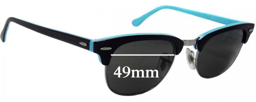 763e9231ba4ee Ray Ban RB2156 New Clubmaster Sunglass Replacement Lenses - 49mm Wide