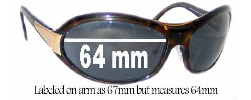 Prada SPR10G Replacement Sunglass Lenses - Measures 64mm wide - Labeled 67mm on arm