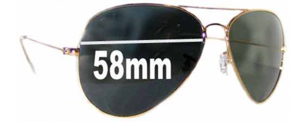 Ray Ban Aviators RB8023 Replacement Sunglass Lenses - 58mmacross