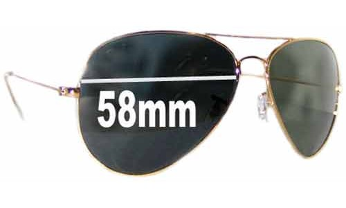 Ray Ban Aviators RB8023 Replacement Sunglass Lenses - 58mm across