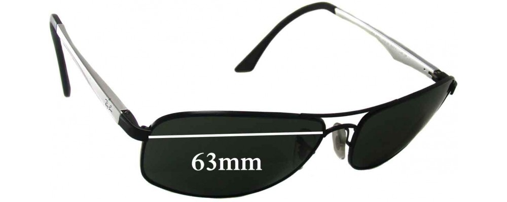 Ray Ban RB3484 Replacement Sunglass Lenses - 63mm wide lenses