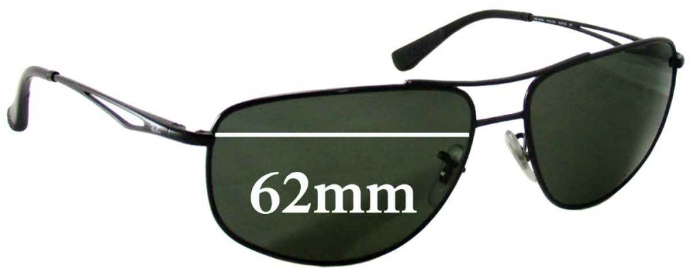 Ray Ban RB3490 Replacement Sunglass Lenses - 62mm wide