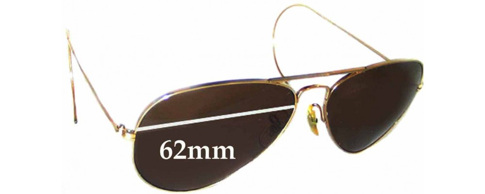 1b9d01429a5 Ray Ban Aviators Bausch Lomb USA Replacement Sunglass Lenses - 62mm Wide