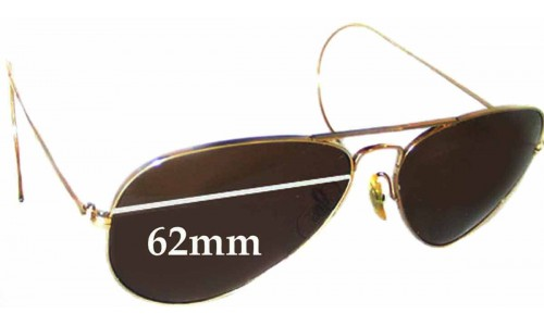 Sunglass Fix Replacement Lenses for Ray Ban Aviators Bausch Lomb USA - 62mm Wide