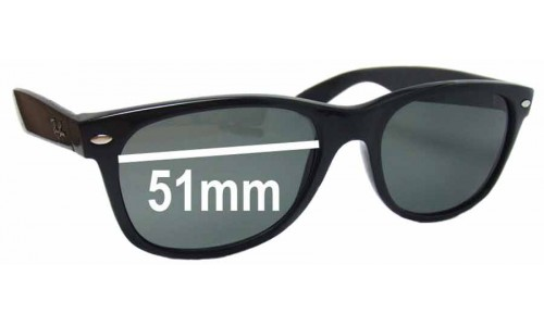 Sunglass Fix Replacement Lenses for Ray Ban RB2132 New Wayfarer 51mm wide x 37mm high