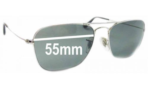 Ray Ban Caravan RB3136 Square Aviators Replacement Sunglass Lenses - 55mm Wide