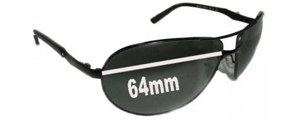 ray ban warrior  Ban Warrior RB3393 Replacement Sunglass Lenses- 64mm wide