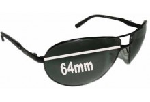 Ray Ban Warrior RB3393 Replacement Sunglass Lenses- 64mm wide