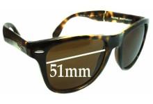 Ray Ban Folding Wayfarer RB4105 Replacement Sunglass Lenses - 51mm wide