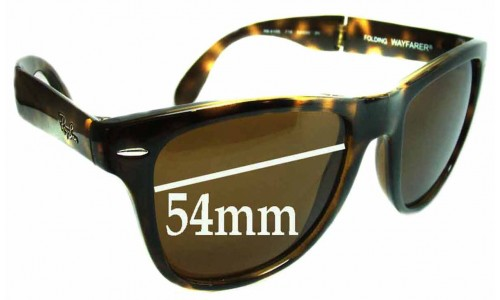 Ray Ban Folding Wayfarer RB4105 Replacement Sunglass Lenses - 54mm wide