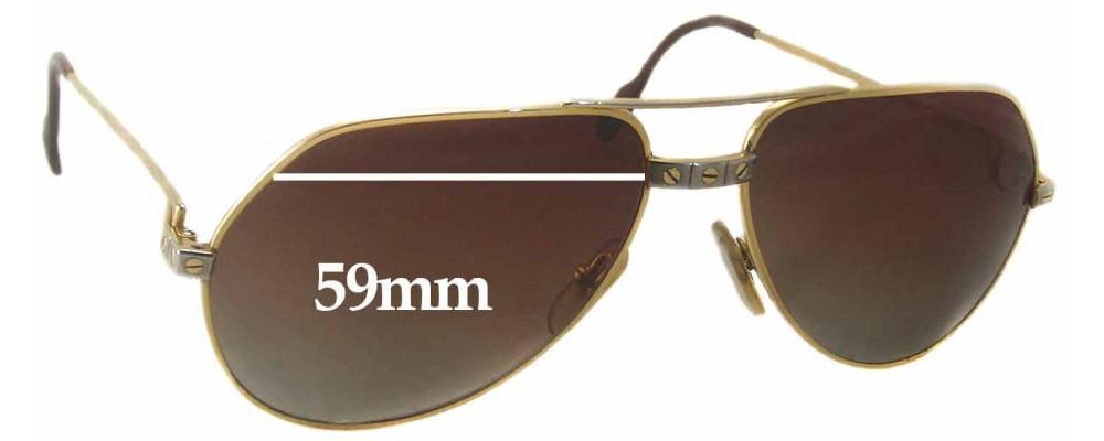 Cartier Paris 140 Replacement Sunglass Lenses - 59mm wide