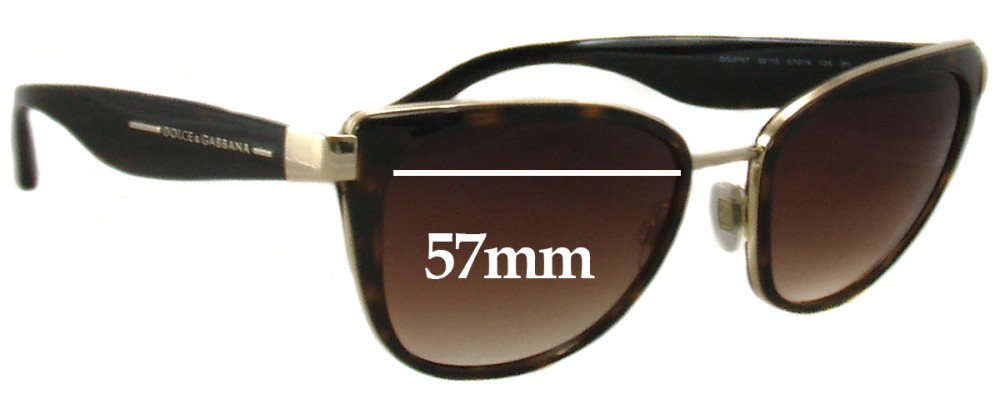 4d6eded3 Dolce & Gabbana DG2107 Replacement Lenses 57mm by The Sunglass Fix™