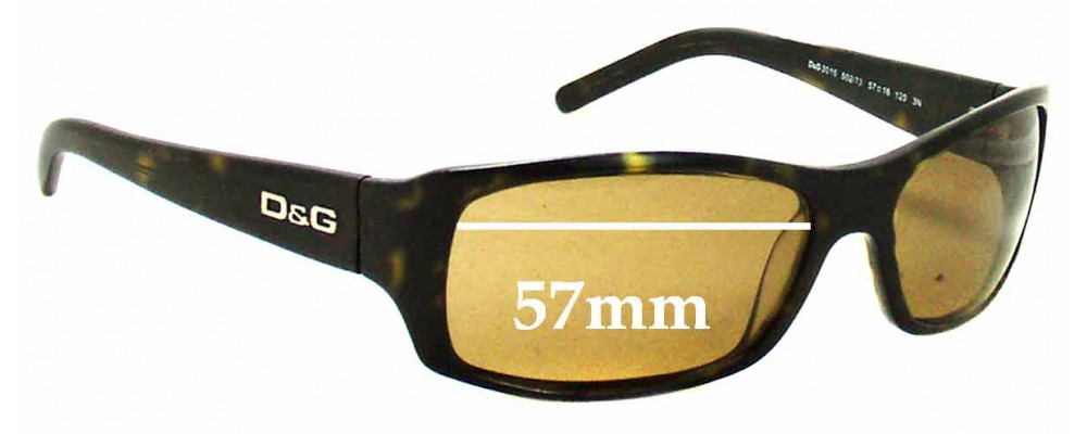 Dolce & Gabbana DG3010 Replacement Sunglass Lenses - 57mm Wide