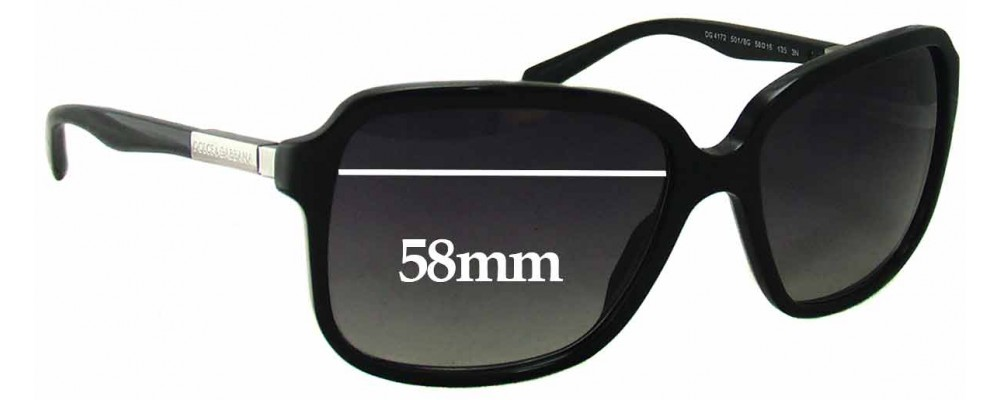 Dolce & Gabbana DG4172 Replacement Sunglass Lenses - 58mm wide