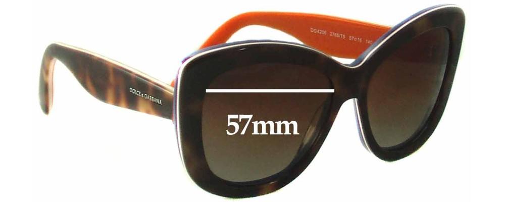 Dolce & Gabbana DG4206 Replacement Sunglass Lenses - 57mm wide