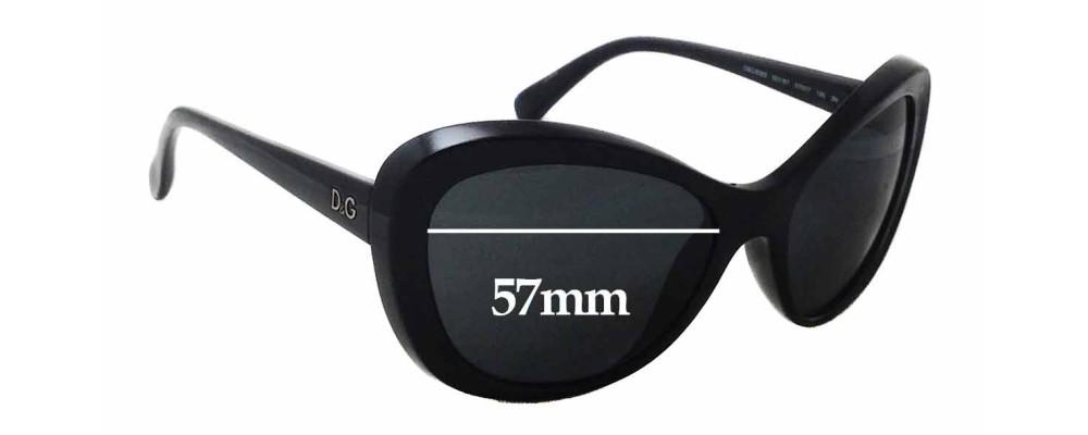 Dolce & Gabbana DG8083 Replacement Sunglass Lenses - 57mm wide x 45mm tall