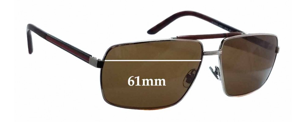 Gucci GG 2202/S Replacement Sunglass Lenses - 61mm wide