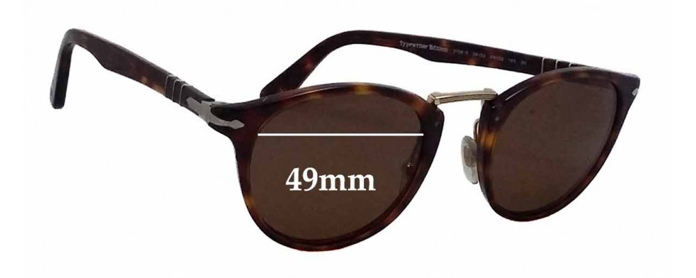 574be85fd4 Persol 3108-S Typewriter Edition Replacement Sunglass Lenses - 49mm wide