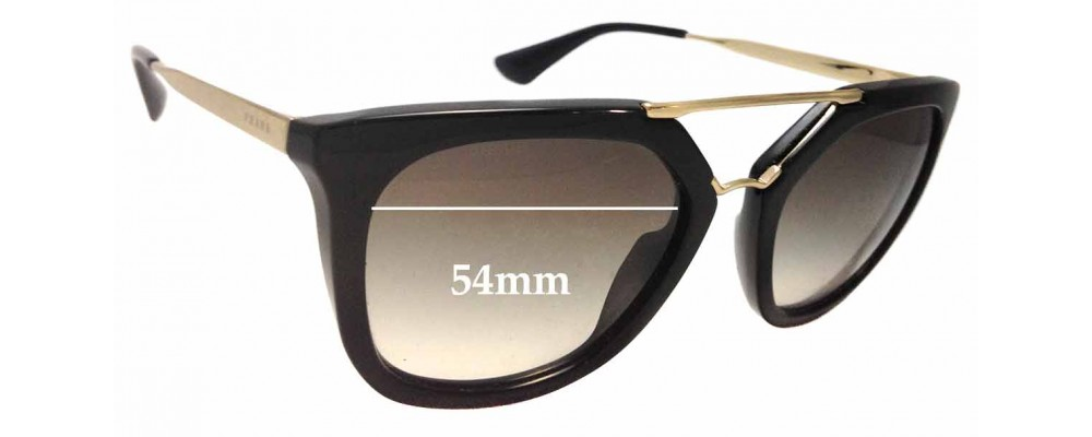 Prada SPR 13Q Replacement Sunglass Lenses - 54mm wide