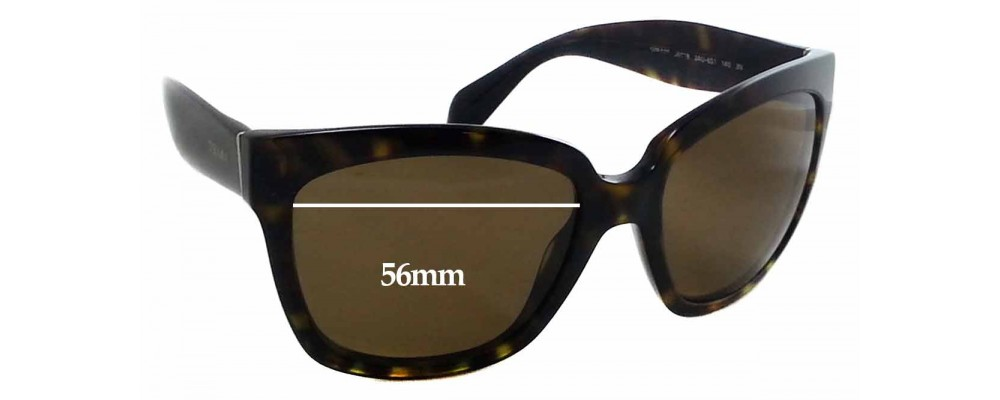 Prada SPR 07P Replacement Sunglass Lenses - 56x44mm Wide