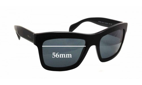 Prada SPR 25Q Replacement Sunglass Lenses - 56mm wide x 41mm tall