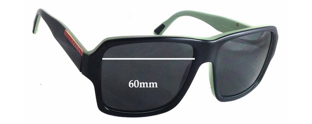 Prada SPS05L Replacement Sunglass Lenses - 60mm wide - 45mm tall