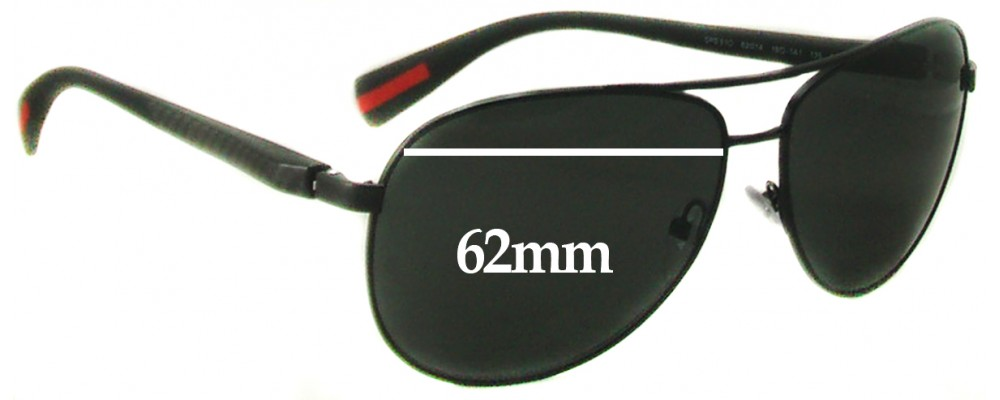 Prada SPS51O Replacement Sunglass Lenses 62MM Wide