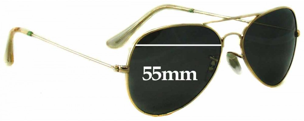 Sunglass Fix Replacement Lenses for Ray Ban Aviators RB3025 Bausch and Lomb - 55mm wide