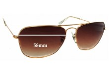 Ray Ban Caravan RB 3136 Replacement Sunglass Lenses - 58mm Wide - 44mm Tall