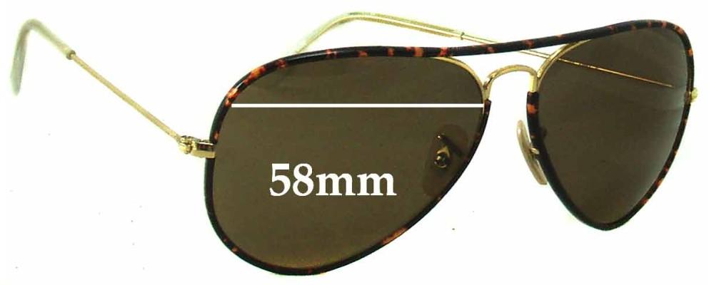 Ray Ban Aviators RB3025 J-M Replacement Sunglass Lenses - 58mm across