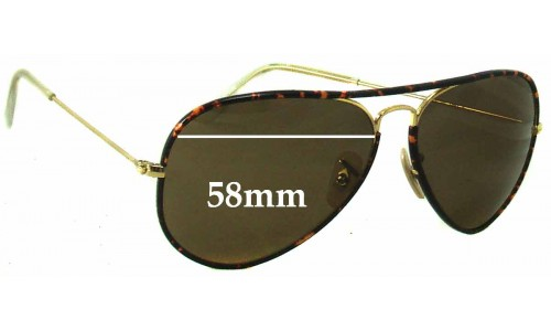 Ray Ban Aviators RB3025 J-M Replacement Sunglass Lenses - 58mm across