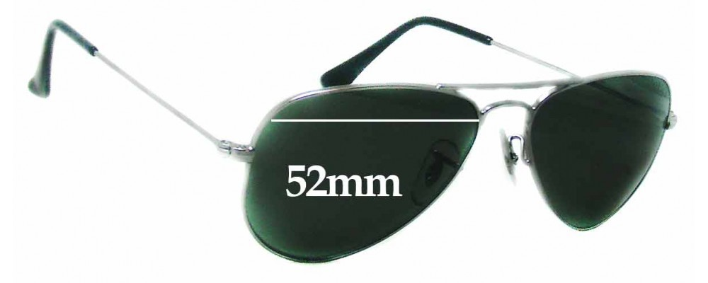 Ray Ban RB3044 Aviator Small Metal W3100 Replacement Sunglass Lenses - 52mm  wide ea114f14f