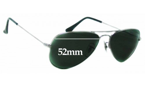 Ray Ban RB3044 Aviator Small Metal W3100 Replacement Sunglass Lenses - 52mm wide
