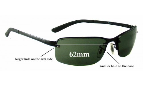 Ray Ban RB3217 Replacement Sunglass Lenses - 62mm Wide **These lenses have a smaller hole on the nose**