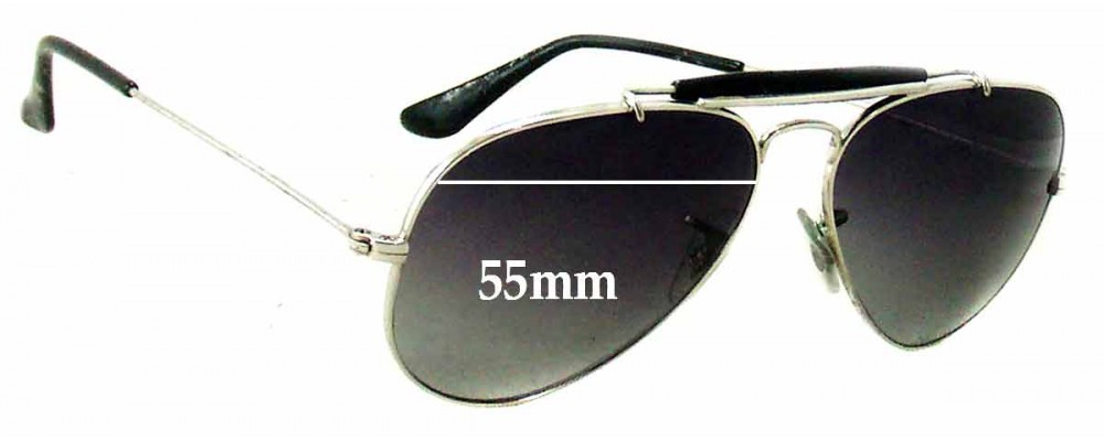 Ray Ban 3407 Aviator Replacement Sunglass Lenses RB3407 - 55mm wide