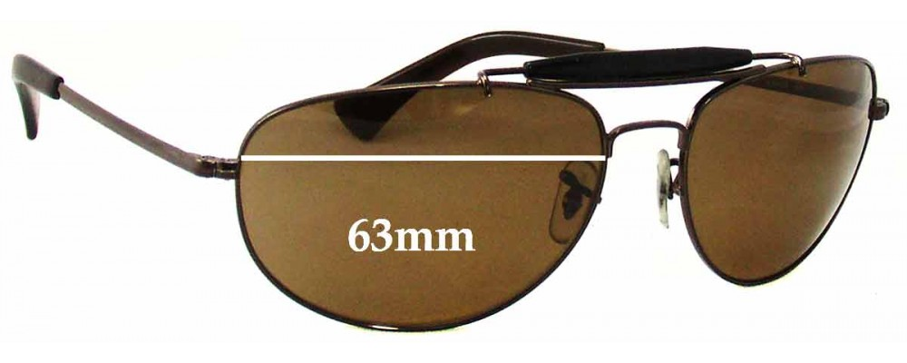 Ray Ban RB3423 Replacement Sunglass Lenses - 63mm across