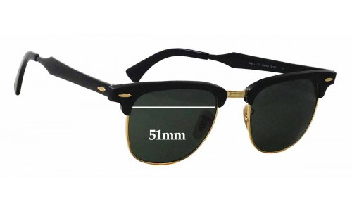 cea6b76423 Ray Ban Clubmaster RB3507 Replacement Sunglass Lenses - 51mm wide
