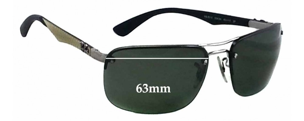 Ray Ban RB8310 Replacement Sunglass Lenses - 63mm wide