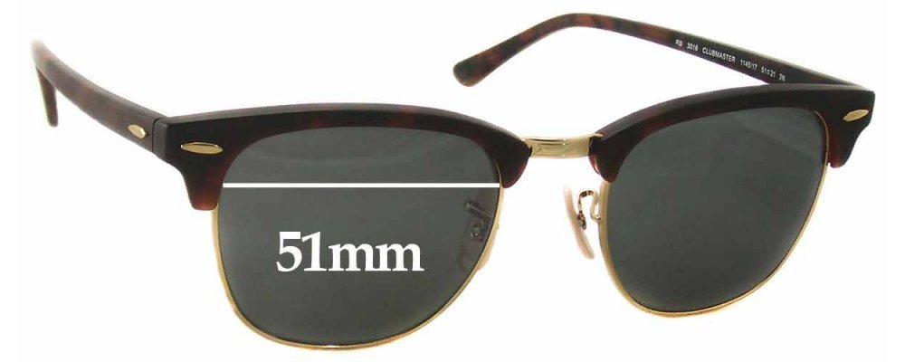 ray ban rb3016  Ban RB3016 Clubmaster Replacement Sunglass Lenses - 51mm Wide