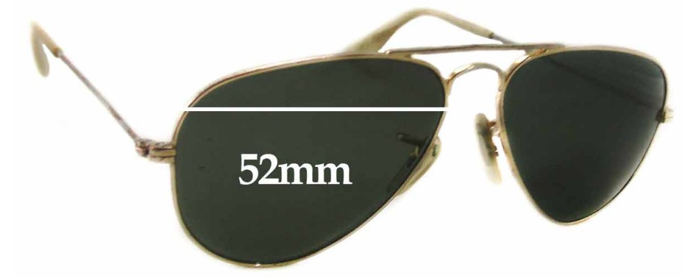 Ray Ban Unknown Model Replacement Sunglass Lenses - 52mm Wide