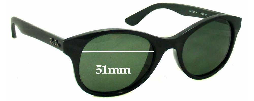 b9509835ef Ray Ban RB4203 Replacement Sunglass Lenses - 51mm Wide