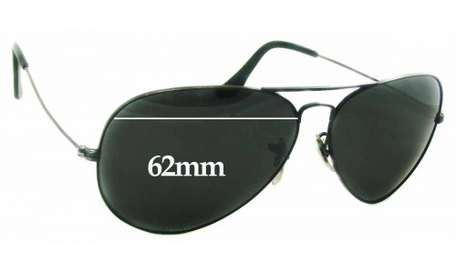 Sunglass Fix Replacement Lenses for Ray Ban Aviators B&L USA - 62mm Wide